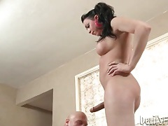 Shemale stripping as she swallows his cock tubes