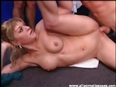 Ass licking chick with fit body fucked in group video tubes