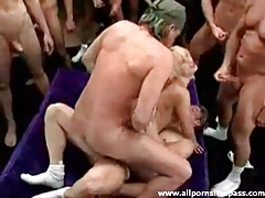 Gangbang of a slutty blonde by lots of guys tubes