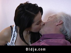 Juicy young brunette and old man have sex tubes
