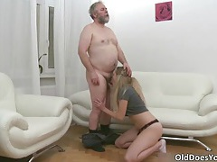 Sexy blonde babe sucks stiff cock and gets fucked hard tubes