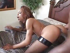 Skinny ebony chick takes monster cock in her ass tubes