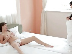 She watches her girlfriend masturbate and licks her tubes