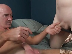 She sucks and grinds on him in pink lingerie tubes