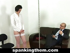 Hard spanking for lazy secretary tubes