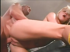 Blonde unzips to suck his dick and gets a facial tubes