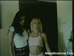 Two hot lesbians play their strap on tubes