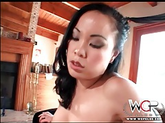 Little tits asian sits pussy on his black cock tubes