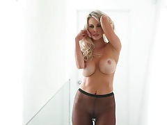 Big round tits are tasty on blonde chick tubes