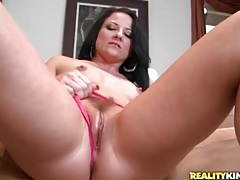 Stripping from a tight blue dress and touching her pussy tubes