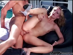 Skinny slut butt fucked outdoors to his orgasm tubes