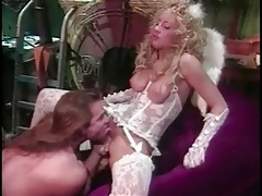 Eating out a blonde angel in white lace lingerie tubes