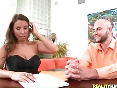 Big cock flops on the table for milf slut to suck tubes