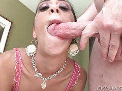 She gags lustily on dick that cums on her face tubes