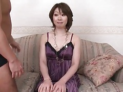 Milf beauty in purple dress groped by two guys tubes