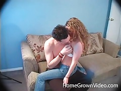 Sexy girl with curly hair sucks and rides her man tubes