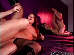 Sexy slim ladies fucked in an energetic foursome tubes