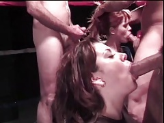 Watch a blowjob competition in a boxing ring tubes