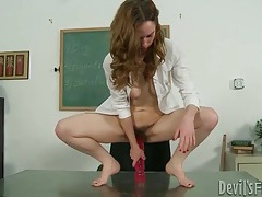 Hairy young vagina expands for big dildos tubes