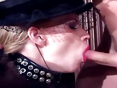 Fetish sex in fishnet stockings and shiny latex tubes