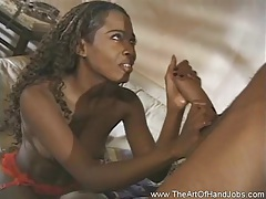 Ebony handjob from a nice girl tubes