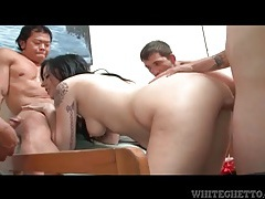 Chick jacking off dicks and fucking in a gangbang tubes