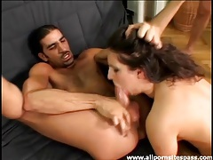 Naughty double penetrated slut sucks balls too tubes