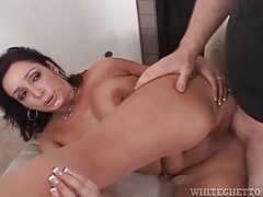 Curvy milf slut sits on his dick with shaved pussy tubes