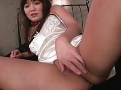 Soft white satin lingerie is sexy on japanese girl tubes