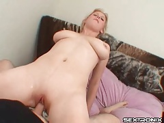 Shaved girl with big tits sucks dick and fucks tubes