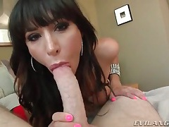 Pretty chick with tight body sucks cock and balls tubes
