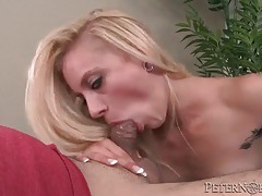 Naughty girl gives head and takes a facial tubes