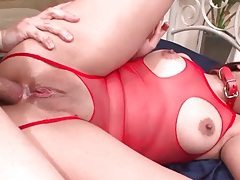 Anal sex slut in lingerie and collar tubes