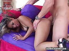 She banged in the ass while sucking dick tubes