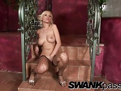 Horny blonde in black fishnets masturbates solo tubes