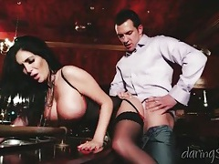 Big fake tits babe in lingerie bent over and fucked tubes