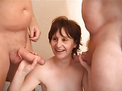 Double team of a cute mature in stockings tubes
