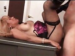 Lingerie looks hot on shemale taking cock in ass tubes