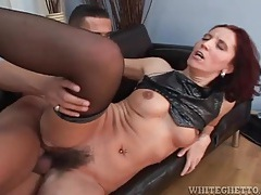 Hairy cunt fuck with cumshot in her pubes tubes