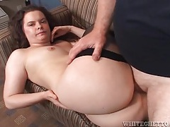 He pulls out and cums on her big ass tubes