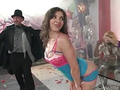 Cutie sucks magician in a costume tubes