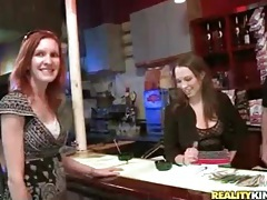 Bartender fondles amateur and gets a bj tubes