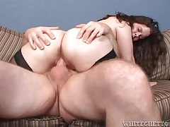 Chubby girl in black stockings rides a dick tubes