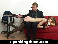 Skinny secretary spanked tube
