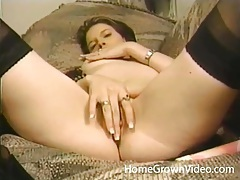Teen in black stockings buzzes her lusty pussy tubes