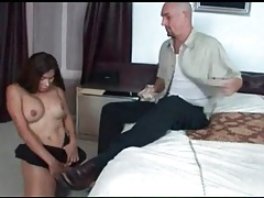 Tranny sucks his big cock deep and lustily tubes