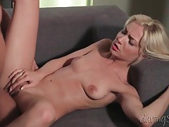 Skinny blonde in high heels rides his cock tubes