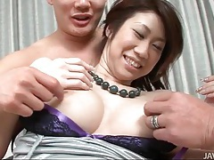 Blue fishnets on a hairy japanese girl tubes