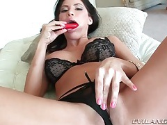 Sexy masturbating girl with big tits gives head tubes