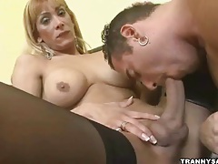 Blonde shemale gets head before fucking a stud hard tubes